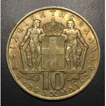 Gre012 Moneda Grecia 10 Drachmas 1968 Xf+ Ayff