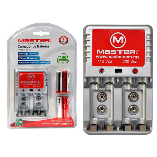Cargador pilas baterias aa aaa 9v 4 baterias incluidas - Cargador para pilas ...