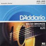 Daddario Ej-11 Cuerdas Guitarra Acústica Bronze (12-53)light