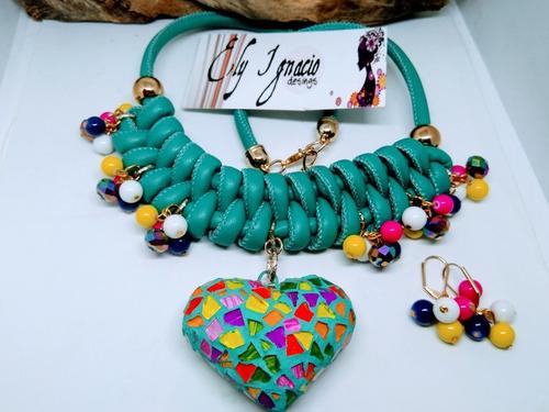 1b303729677f Collar Artesanal Corazon Vitral Cristal Frida Kahlo Mayoreo en venta ...