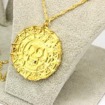 Tesoro Azteca Collar De Piratas Del Caribe Chapa De Oro 18k