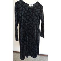 Talla 10-12 Años Niña Vestido Terciopelo Negro Grabado Vn127