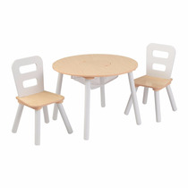 Tb Cocina Kidkraft Round Table And 2 Chair Set White/natural