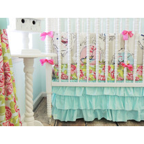 Tushies And Tantrums Boutique Birds With Floral Sheet And Aq