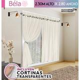 Juego Cortinas Béla 6pzas (2.30 X 2.80) Incluye Transparente