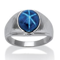 Anillo Plateado Zafiro Estrella Azul Ovalado Hombre Talla 8
