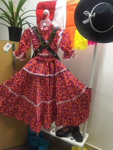Vestido Adelita Revolucionaria Carrilleras Collares Rojo Flo