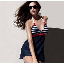 Hermoso Traje De Baño Completo Tipo Vestido, Bikini Mujer
