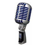 Micrófono Shure Super 55 Dinámico Supercardioide Cromado/azul