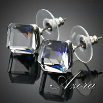 Aretes Platinados Cubo Cristal Austriaco Azul