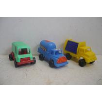 Camion Repartidor Set De 3 - Camioncito De Juguete Escala
