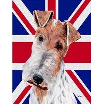 Fox Terrier Del Alambre Con Inglés Union Jack Británica Ba