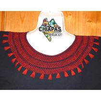 Hermosa Blusa Bordada De Chiapas, Mod007: Negra/rojo (m)