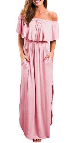 Vestido Tipo Campesino Para Playa Rosa Blanco Sin Hombros En