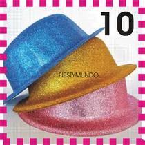 10 Sombreros Diamantado Tipo Bombín Para Fiesta Batucada