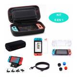Kit Nintendo Switch  Estuche Funda Mica Glass Silicon Joycon