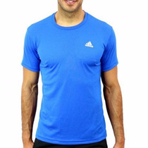 Playera Adidas Azul Acero Para Ejercicio Gym Futbol, Hombre