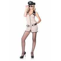 Disfraz Policia Vestido Cierre Esposas Gorra Lentes Placa