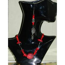 Collar Coral Rojo Y Aretes Antiguos Raros Hechos A Mano