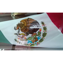 Bandera De Mexico Bordada Doble Vista .60x1.05 Mts Razo