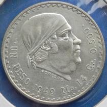 Moneda 1 Peso Morelos 1949 Original Mexico Muy Escasa Plata