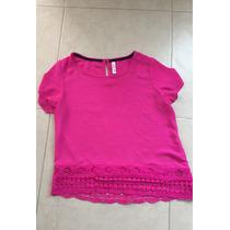 Blusa Crop Top Rosa Bebe Barbie Shifon Importada M Encaje