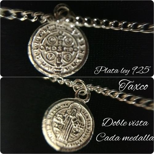 7ffe57f105a5 Pulso Pulsera Plata 925 Con 4 Medallas Y Cruz De San Benito en venta ...