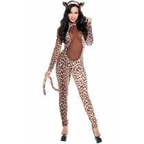 Sexy Disfraz Leopardo Animal Print Con Cola Y Orejas