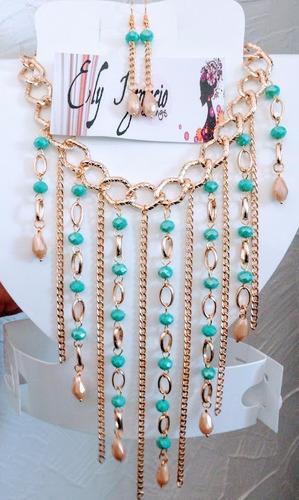 88c571afa3f5 Set Collar Y Aretes Cascada Cristal Cadena Bisuteria Fina en venta en Silao  Guanajuato por sólo   245