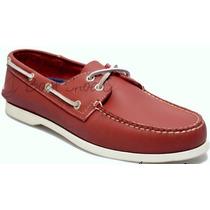 Zapato De Piel Top Sailer Modelo 501 Rojo Ladrillo