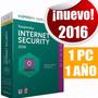 Licencia Kaspersky Internet Security 2016 1 Pc 1año Original