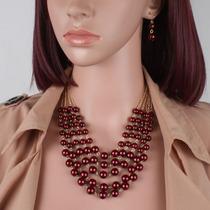 Set Collar Y Aretes De Perla Y Cristal Moda Bisuteria Fina