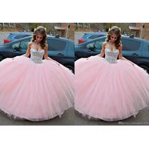 Vestido Xv Rosa Pastel Con Pedrería Con Tutu En Venta En