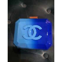 Bolso Clutch Bicolor Candy Color Cc En Plexiglass Con Cadena