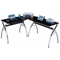 Mueble Para Computadora Escritorio Cristal Templado Oficina