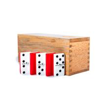 Domino Acrílico Blanco - Rojo, Tradicional En Caja De Caoba