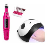 Combo Lámpara Uv Led Panda + Pulidor Drill Esmeril  De Uñas