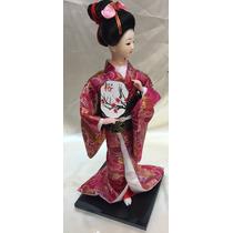 Muñeca Geisha De Porcelana Y Satín Seda 30 Cm