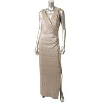 Vestido De Noche Dorado Metalico Marca Ralph Lauren Talla 6