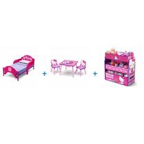 Kit Cama Con Juguetero Y Mesa Con Sillas Hello Kitty 3 En1