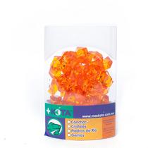 Gemas De Acrilico Naranja De Plastico Chicas Peces +kota