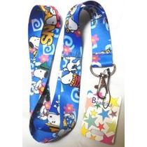 1 X Azul Anime Snoopy Lanyard Llavero Mp3 Soporte Para Teléf