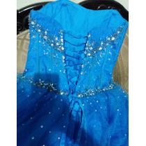 Vestido De Xv Años Azul Turquesa Con Pedrería En Venta En