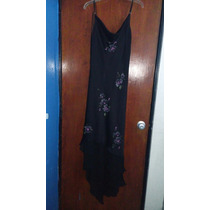 Oferta!!vestido Negro Satin Flores Pintadas A Mano Y Bordado