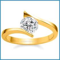 Anillo De Compromiso Diamante Natural .55ct Oro 18k -50% 262