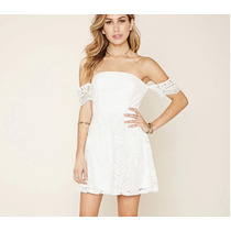 Forever 21 Mini Vestido Bailarina Con Vuelo Crochet Blanco M