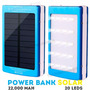 Power Bank Solar 22,000 Bateria Portatil Usb Leds Luz Negra