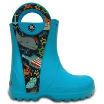 Bota De Lluvia Infantil Crocs Handle It Sea Life Azul