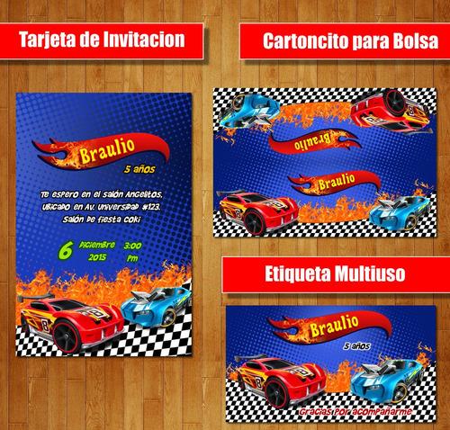 Kit Imprimible Hot Wheels Auto Carro Candy Bar Cumple Fiesta