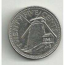 Moneda Barbados 25 Cents (1987) Molino De Viento